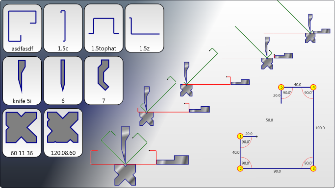 Example Bend Sequence on the Press Brake Controller